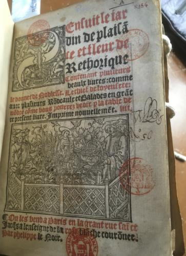 Page de titre du Jardin de plaisance, Michel Le Noir, 1527.